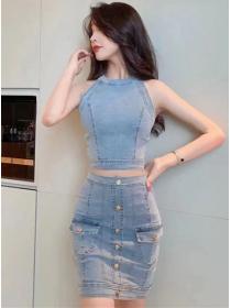Modern Lady Off Shoulder Single-breasted Denim Dress Set