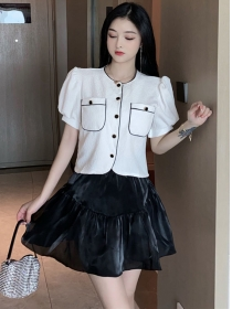 Fashion Lady Puff Sleeve Blouse with Fluffy A-line Skirt