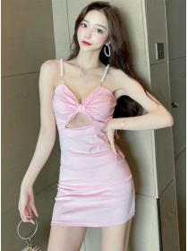Sexy Charming Pearl Straps Bowknot Bust Slim Dress