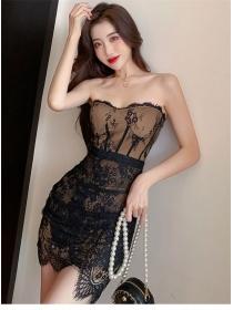 Sexy Women Lace Flowers Strapless Bodycon Dress