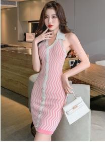 Pretty Fashion 3 Colors Single-breasted Stripes Knit Dress