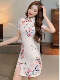 Charming Retro Flowers Printings Cheongsam Slim Dress