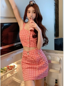 Summer Sexy Single-breasted Houndstooth Denim Dress Set
