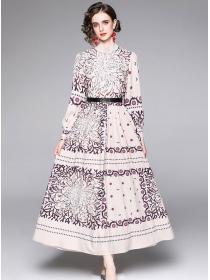 Fashion Europe High Waist Flowers Puff Sleeve Maxi Dress