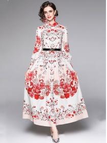Autumn Fashion Belt High Waist Flowers Maxi Dress