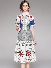 Wholesale Europe Shirt Collar Printings Short Sleeve Dress