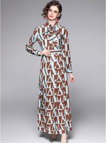 Wholesale Europe Tie Collar Color Block Maxi Dress