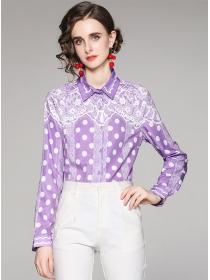 Autumn Fashion Dots Flowers Long Sleeve Loosen Blouse