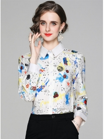 Hot Selling 2 Colors Flowers Shirt Collar Loosen Blouse