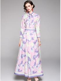 Pretty Europe High Waist Shirt Collar Printings Long Dress