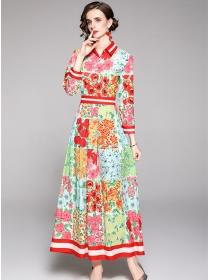 Charming Lady Shirt Collar High Waist Flowers Maxi Dress