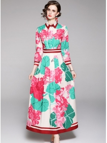 Brand Fashion High Waist Flowers Long Sleeve Shirt Maxi Dress