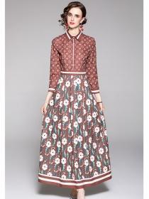 Retro Europe Shirt Collar Long Sleeve Flowers Maxi Dress