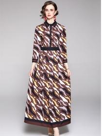 Wholesale Europe High Waist Color Block Maxi Dress