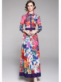 Pretty Women Shirt Collar High Waist Flowers Maxi Dress