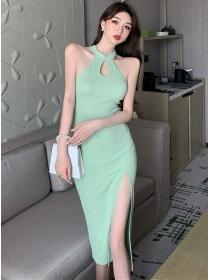 Retro Sexy 2 Colors Off Shoulder Split Cotton Dress