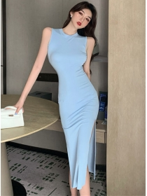 Wholesale Summer 3 Colors Split Skinny Tank Dress