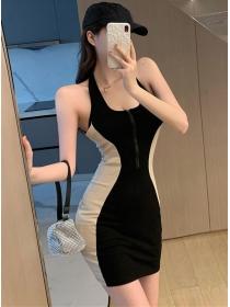 Modern Sexy Color Block Zipper Bust Backless Slim Dress