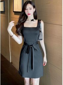 Simple Fashion 2 Colors Square Collar Tie Waist Tank Dress