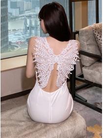 Modern Sexy Lace Butterfly Backless Slim Tank Dress