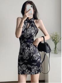 Pretty Off Shoulder Flowers Slim Cheongsam Dress