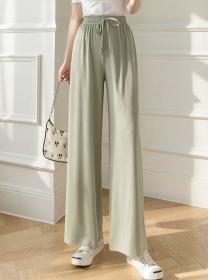 Wholesale Summer 6 Colors Elastic Waist Straight Long Pants