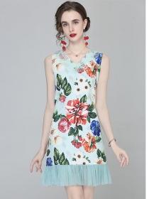 Pretty Fashion V-neck Gauze Fishtail Flowers Tank A-line Dress