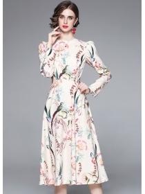 Grace Women High Waist Flowers Long Sleeve A-line Dress