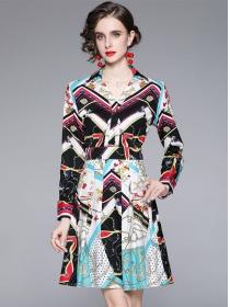 Retro Wholesale Shirt Collar Flowers Long Sleeve Dress