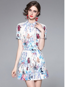 Charming Europe Butterfly Flowers Puff Sleeve Pleated Dress Set