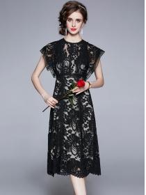 Wholesale Retro High Waist Lace Flowers Tank A-line Dress