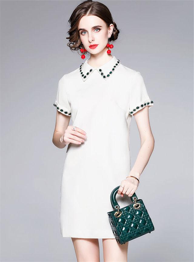 Modern OL 2 Colors Rhinestones Doll Collar Short Sleeve Dress