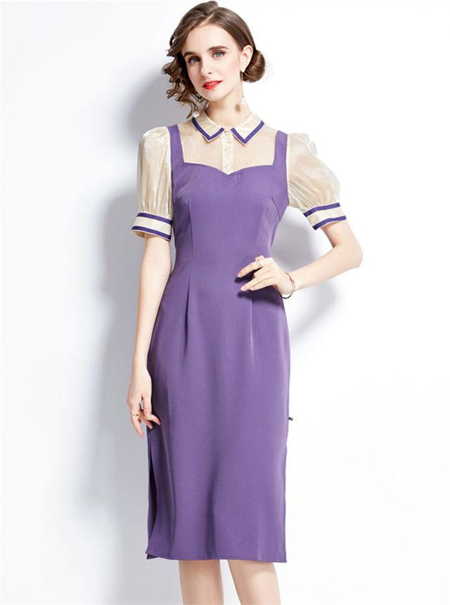 Grace Women Shirt Collar Splicing Puff Sleeve Slim Long Dress