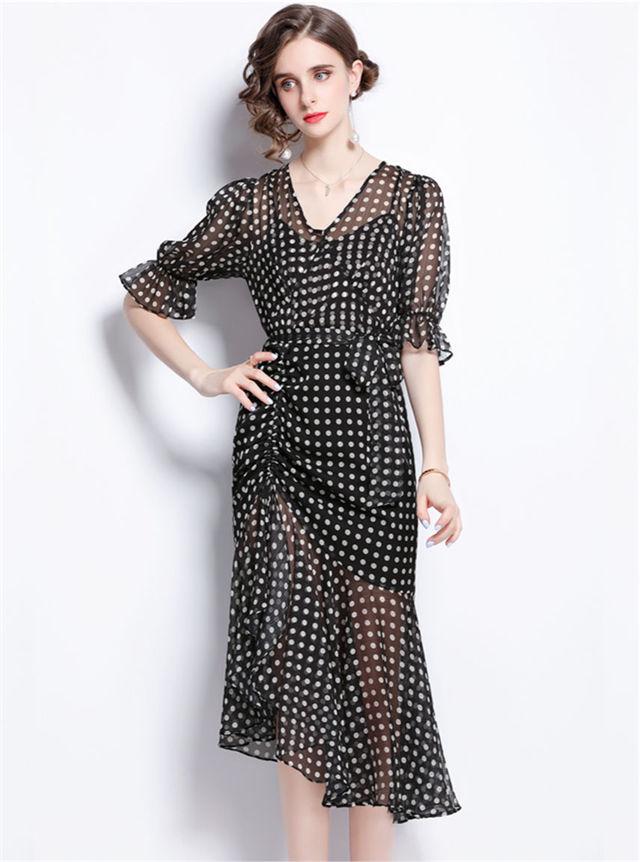 Summer Fashion V-neck Puff Sleeve Dots Fishtail Long Dress