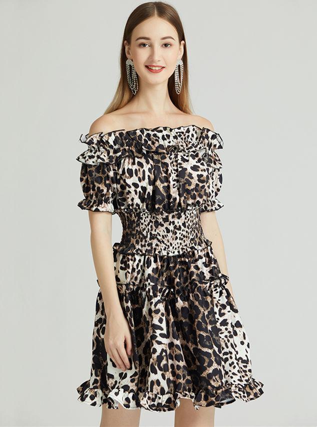 Europe Stylish Boat Neck Elastic Waist Leopard Fishtail Dress