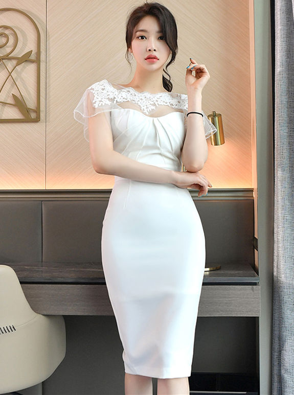 Wholesale Charming Lace Flowers Splicing Bodycon Dress