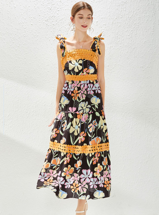 Charming Europe Tie Straps High Waist Flowers Long Dress