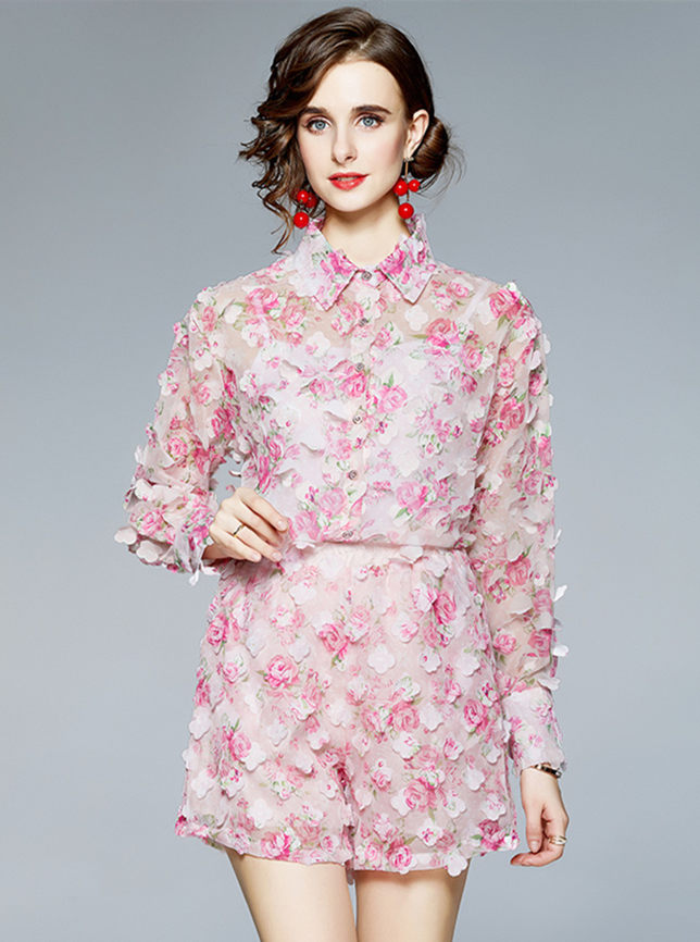 Pretty Europe Flowers Petals Elastic Waist Two Pieces Suits