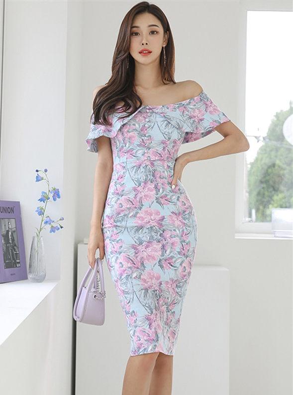 Charming Korea Boat Neck Flowers Bodycon Dress
