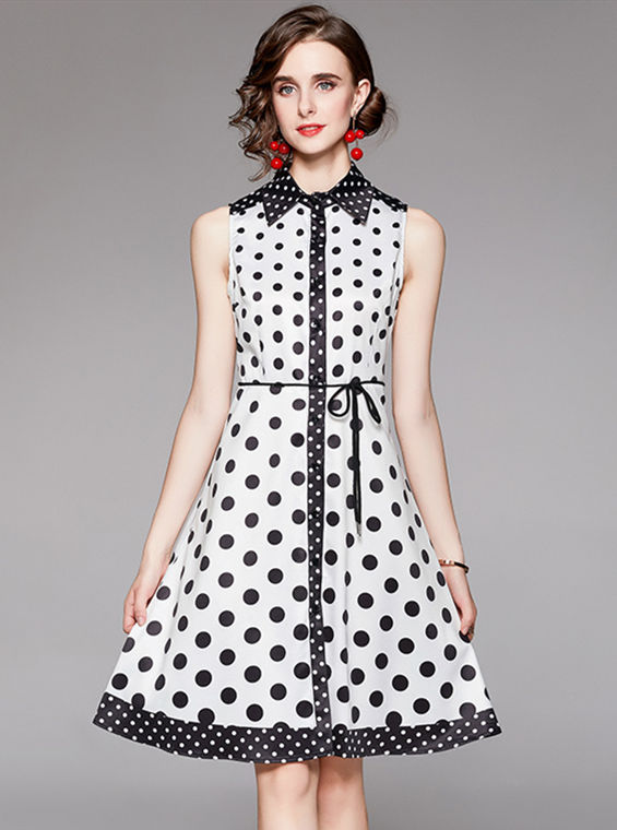 Summer Fashion Single-breasted Shirt Collar Dots Tank Dress