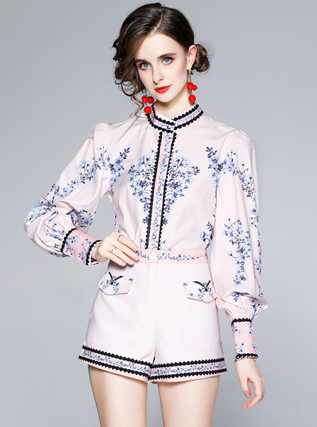 Fashion Women Flowers Puff Sleeve Two Pieces Short Suits