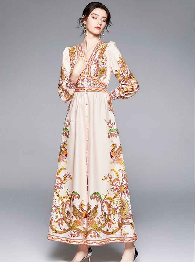 Autumn New Single-breasted V-neck Flowers Maxi Dress