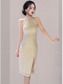Grace Women Off Shoulder Split Skinny Cheongsam Dress