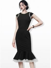 Modern Lady Round Neck Fishtail Skinny Tank Dress