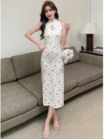 Fashion Women High Waist Flowers Slim Cheongsam Dress