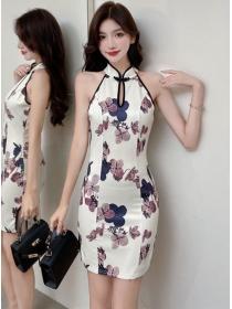 Korea Fashion Flowers Backless Slim Cheongsam Dress
