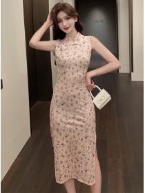 Summer New Flowers Split Tank Cheongsam Dress