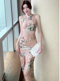 Wholesale Stylish Flowers Split Tank Bodycon Dress