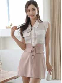 Summer Fashion Doll Collar Single-breasted Dress Set