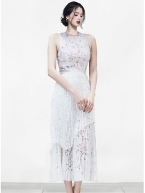 Fashion Women Rhinestones Collar Pleated Lace Dress